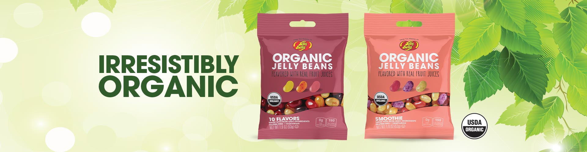 Irresistible Organic Jelly Belly Organic 1.9 oz bags USDA Certified Organic