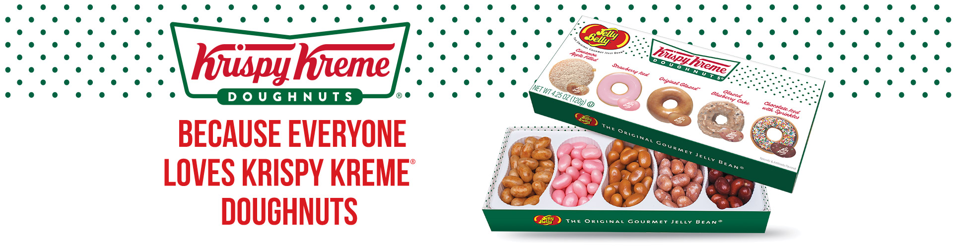 Krispy Kreme Doughnuts Logo with Krispy Kreme Doughnuts Jelly Beans Mix 4.25 oz. Gift Box and caption: Because everyone loves Kripsy Kreme doughnuts