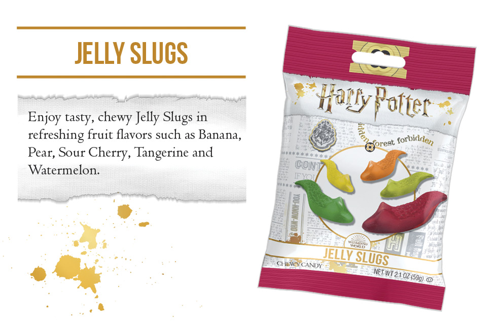 Jelly Slugs. Enjoy tasty, chewy, Jelly Slugs in refreshing fruit flavors such as Banana, Pear, Sour Cherry, Tangerine and Watermelon.