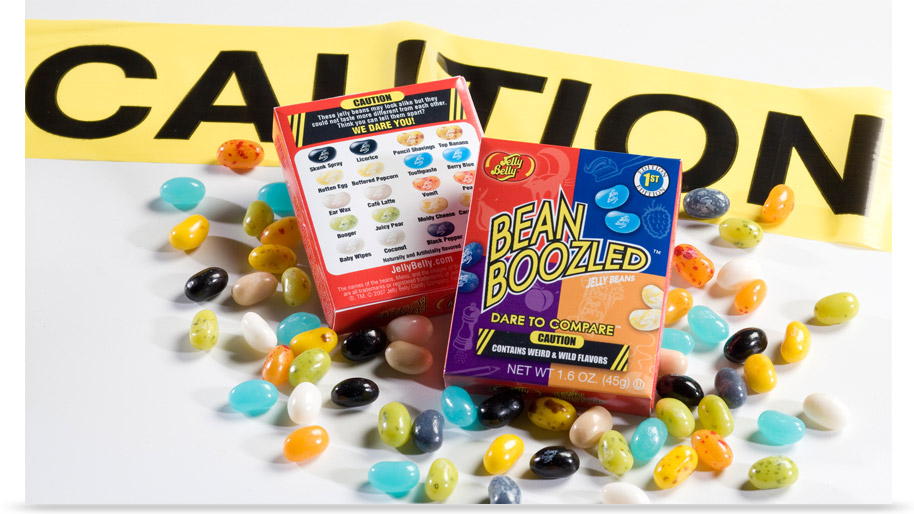 Packages of BeanBoozled jelly beans.