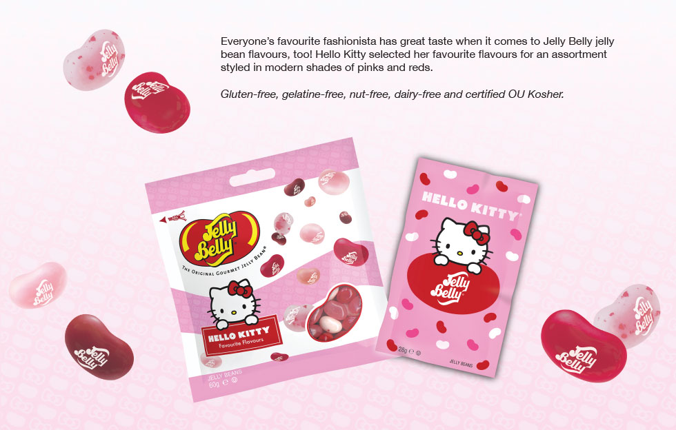 Everyone's favourite fashionista has great taste when it comes to Jelly Belly jelly bean flavours, too! Hello Kitty selected her favourite flavours for an assortment styled in modern shades of pinks and reds. Gluten-free, gelatine-free, nut-free, dairy-free and certified ou Kosher