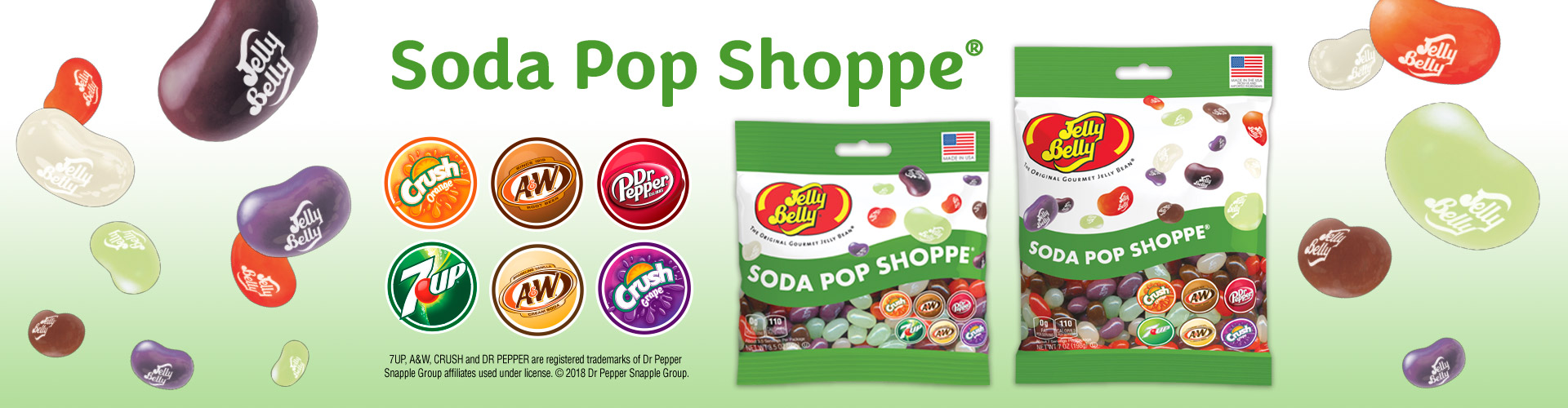 Jelly Belly Soda Pop Shoppe 3.5 oz and 7 oz bags with Orange Crush, A&W Root Beer, Dr. Pepper, 7UP, A&W Cream Soda, & Grape Crush logos.