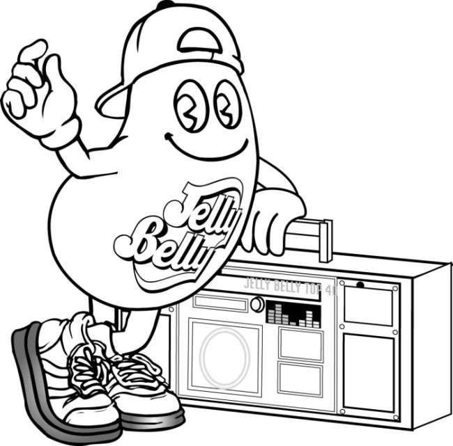 Mr jelly belly with a boombox
