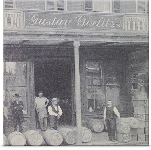 Gustav Goelitz in front of his store in Belleville, Illinois, in 1869.