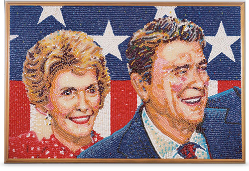 Jelly Belly bean art of President Ronald Reagan and wife Nancy.