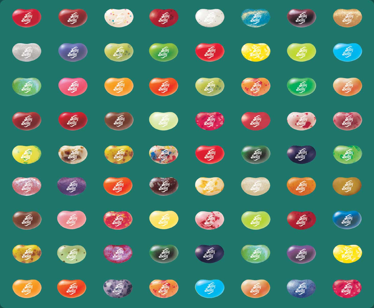 Display of 72 flavors of Jelly Belly jelly beans
