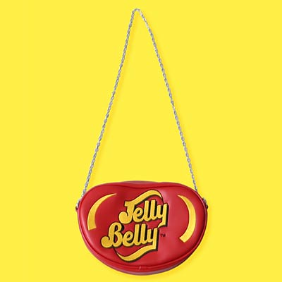 red Jelly Belly logo shaped purse