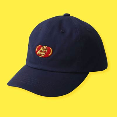 black baseball cap with Jelly Belly logo in the middle