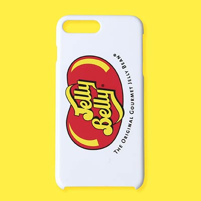 white phone case with red Jelly Belly logo on the back