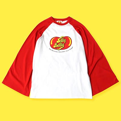 red and white Jelly Belly raglan T-shirt