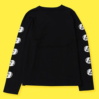 Black longsleeve shirt with white Jelly Belly logos on the sleeves