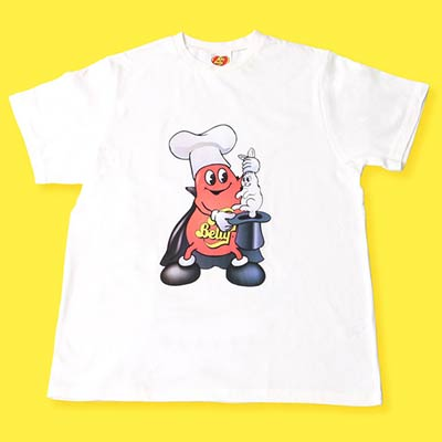 white t-shirt with Mr Jelly Belly dressed as a magician pulling a rabbit out of a hat