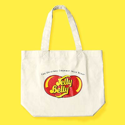 canvas bag with large Jelly Belly logo on the side